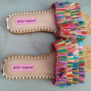 Betsey Johnson Fringe Slide Sandal Mule